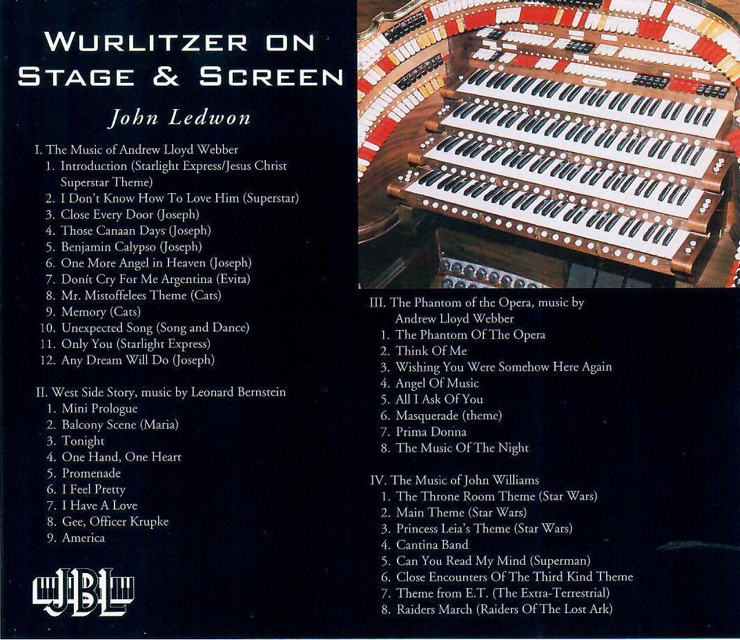 John Ledwon - Wurlitzer on Stage & Screen